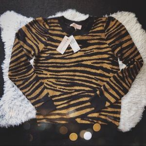 Philosophy Size Small Tiger Print Sweater